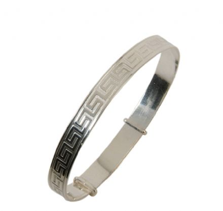 Silver Greek Key Design Expanding Bangle - Teenage to Adult Sizes